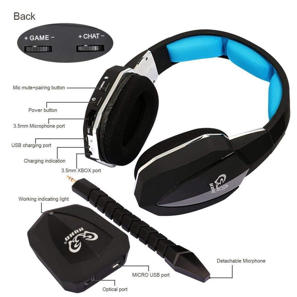 Casque à Ecouteurs Pour Jeux Stéréo 2,4ghz sans fil à fibre optique HUHD